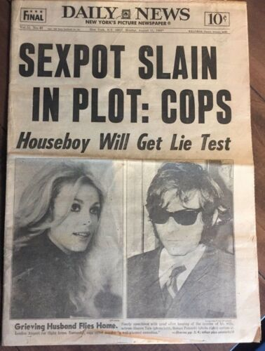 Sharon Tate - August 11, 1969 New York Daily News full newspaper - Rare !