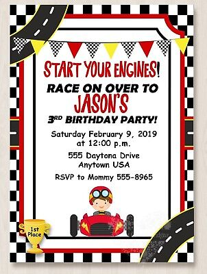 Race Car Invitations (10 Race Car Racing Birthday Party Invitations 1st 2nd 3rd 4th 5th)