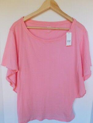 NWT GAP Women's Pink Crew Flutter Sleeve T-Shirt XS S M L Free Ship MSRP$25 NEW