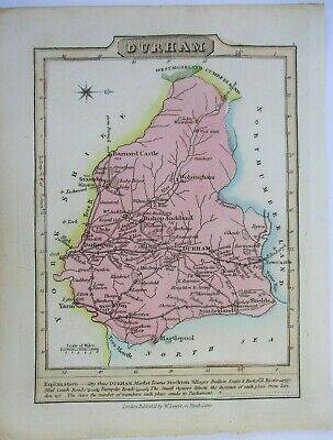 Antique map of Durham by William Lewis 1819