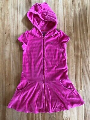 Nautica Girls Size S (8) Pink Hooded Zip Up Terry Cloth Swim Cover -Up