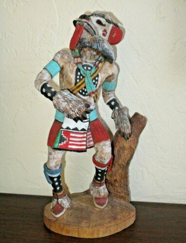 "Hopi White Bear Kachina by DuWayne Chee, Hand Carved, 10"" Tall, Navajo"