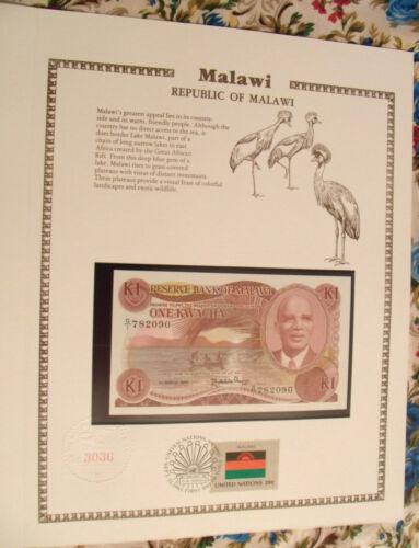 Malawi Banknote 1986 1 Kwacha P 19a UNC with UN FDI FLAG STAMP Prefix G/1