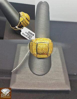 100% 10k Gold & Real Canary yellow diamond Men Ring, Pinkey, casual, lollipop N ()