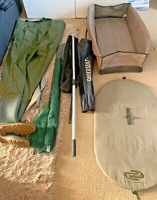 ANGLING AND FISHING EQUIPMENT IN VERY GOOD CONDITION -NETS- MATS- WADERS