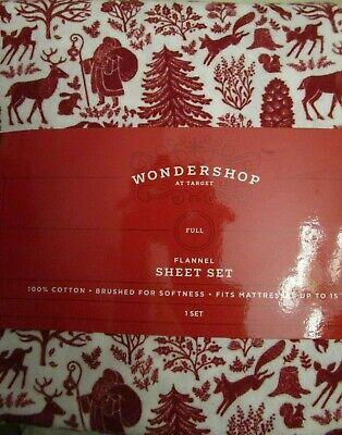 Father Christmas Cotton Flannel Full Size Sheet Set Sheets Wondershop ()