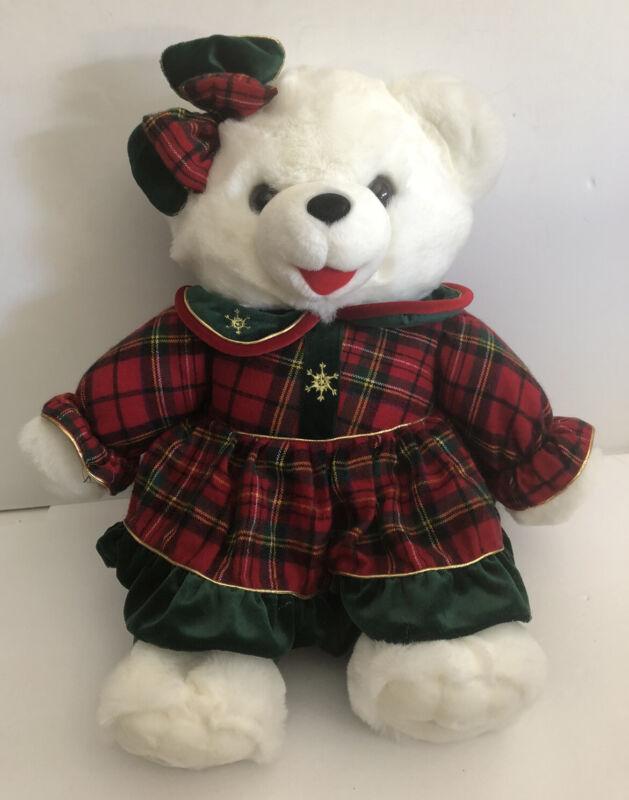 "1999 Snowflake Christmas Teddy Bear White 21"" Girl Red Plaid Dress EUC"