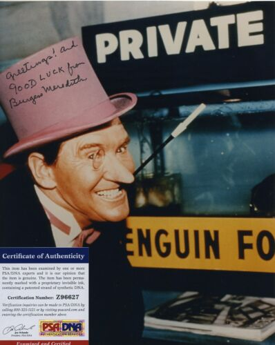 BURGESS MEREDITH COLOR PHOTO PENGUIN BATMAN SIGNED AUTOGRAPHED PSA/DNA COA