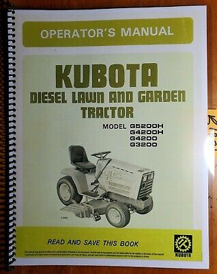 Kubota G3200 G4200 G4200h G5200h Diesel Lawn Garden Tractor Operators Manual