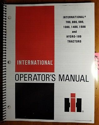 Ih International 786 886 986 1086 1486 1586 Hydro 186 Tractor Operator Manual 80