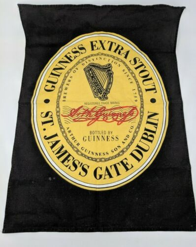 """Guinness Beer Extra Stout St James Gate Dublin Cloth Hanging Bar Towel 16"""" x 23"""""""