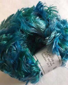 Crystal Palace Splash 9523 Scuba Dive Blues Green Feather Boa Short Eyelash Yarn