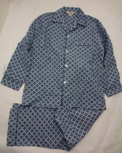 Vintage 60s C (L) Geometric Mad Men 2pc PJs Pajamas Flannel DEADSTOCK