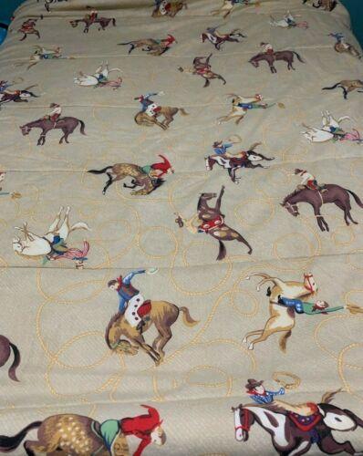 Vintage Western Cowboy Bucking Horse Bronco Quilt Blanket 82x86 Full Comforter