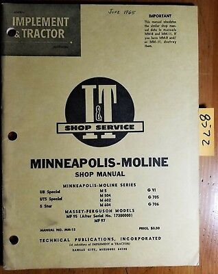It Minneapolis-moline Ub Uts 5 Star M5 M504 M602 M604 Gvi G705 G706 Manual 1965