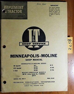 It Minneapolis-moline Ub Uts 5 Star M5 M504 M602 M604 Gvi G705 G706 Manual 1965