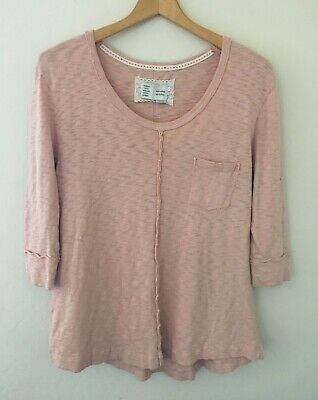 Anthropologie Saturday Sunday 3/4 Sleeve Tunic T-Shirt Pink Size Small