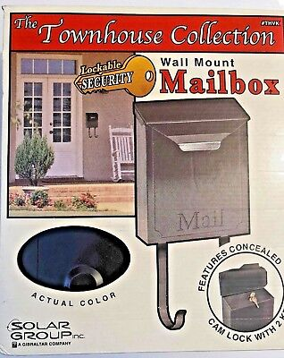 THE TOWNHOUSE COLLECTION LOCKABLE SECURITY WALL MOUNT MAILBOX BLACK