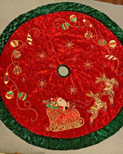 Christmas Beaded Sequin Tree Skirt Santa Sleigh Reindeer Ornaments