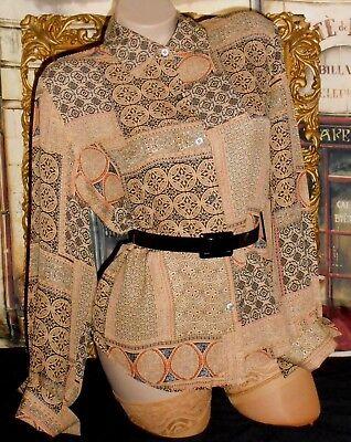 USA 12 Silk Blouse Medieval Design Black Tan Long Sleeve Point Collar
