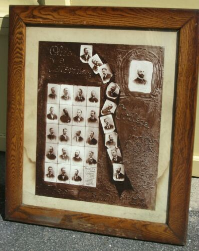 A H KING 1892 Veterinary College Class Photo Ohio, Framed w/ Names - SHARP