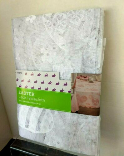 """Easter Spring White Flowers & Eggs Oblong 60"""" x 104"""" Lace Tablecloth NWTs"""