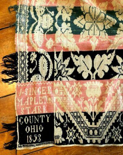 Antique Woven Jacquard Coverlet 1853 J. Singer Mapleton Stark County Ohio ~2 pc