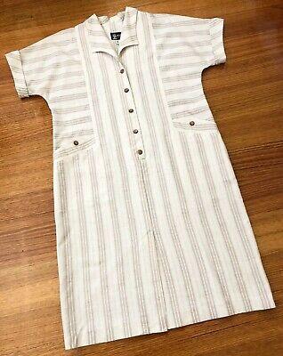 80s Dresses | Casual to Party Dresses NEATER FASHIONS 1980s Retro Vintage Shirt Dress Size 14 AU Linen Mix $30.43 AT vintagedancer.com