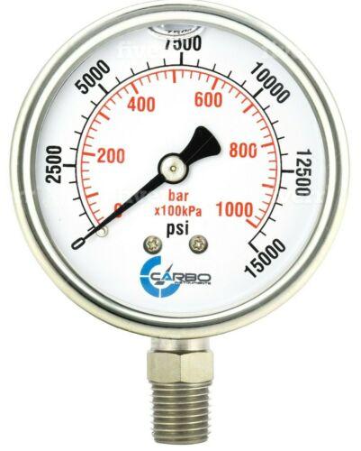 "2-1/2"" Pressure Gauge, ALL STAINLESS STEEL, Liquid Filled, Lower Mnt, 15000 Psi"
