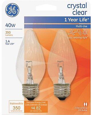 2 GE Crystal Clear Decorative LIGHT BULB 40w E26 Flame Tip 75341 40FM/C/CF2-TP4