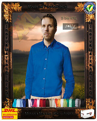 Herren Twill Hemd Langarm Oberhemd Übergröße Baumwolle S M L XL XXL 3XL 4XL Büro ()