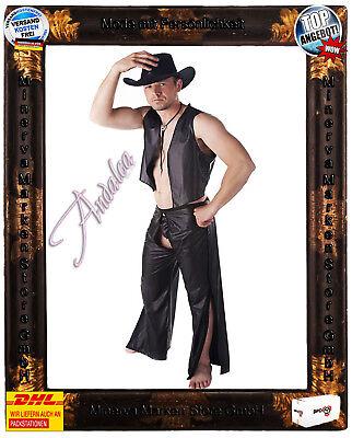Erotisches 3tlg.Cowboy-Set Kostüm SW/107 Andalea Weste Chaps Wetlook GoGo  (Cowboy Chaps Kostüm)