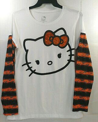 Hello Kitty Halloween T Shirt (Hello Kitty Halloween LS T-Shirt Women Juniors XL 15/17 White Orange Black)