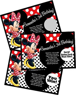 Red Minnie Mouse Birthday Party (RED MINNIE MOUSE PERSONLIZED SCRATCH OFF OFFS PARTY GAME CARDS BIRTHDAY)