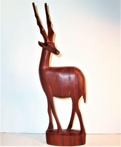 Old IMPALA GAZELLE Hand Carved Wood Art Sculpture Statue Figurine Vintage Large
