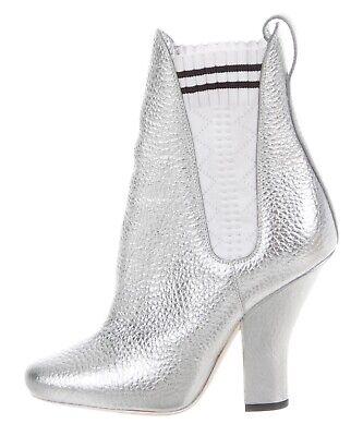 $1050 Fendi Marie Antoinette Silver Leather Sock Ankle Boots Booties Heels Sz 35