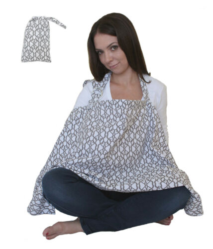 Nursing Cover Coverup for Breastfeeding Privacy Extra Wide Cover-up Grey & White