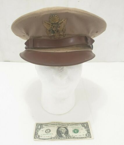 "Bancroft Flighter Vintage WWII Officers Cap Hat Khaki Front Emblem Small 21-3/4"""
