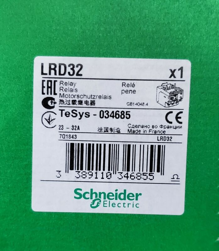 SCHNEIDER ELECTRIC SQD LRD32 OVERLOAD RELAY NEW IN SEALED BOX