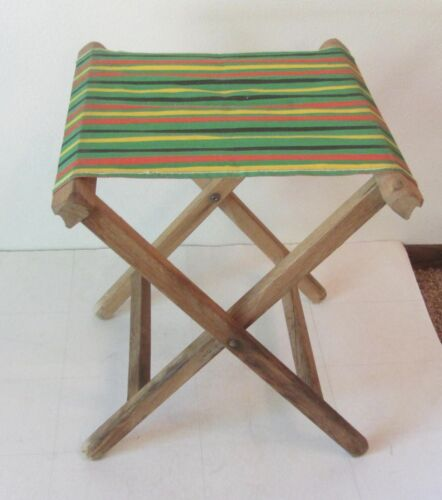 Vtg Folding CAMP STOOL Wood Awning Stripe Canvas GREEN RED YELLOW Camping