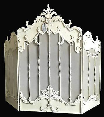 style ancien antique grand ecran grille pare feu protection de cheminee en fer