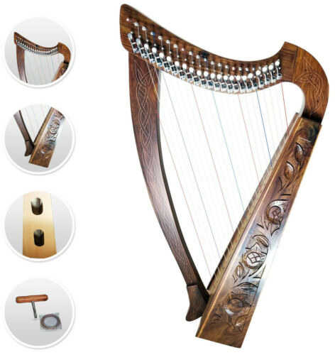 22 Strings Levers Harp Celtic Solid Rosewood Hand Made natural with FREE Bag