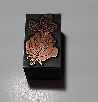 Printers Print Block Printing Letterpress Garden Rose Flower