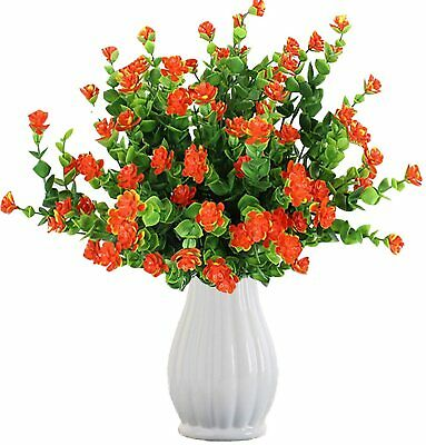 4 Bouquets Artificial Flowers Outdoor Faux Plastic Greenery Shrubs Plants Indoor