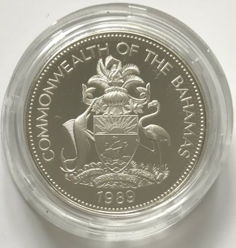 """1989 Bahamas $5 Sterling Silver Proof """"The Dawn of a New World"""" Columbus  #1358"""