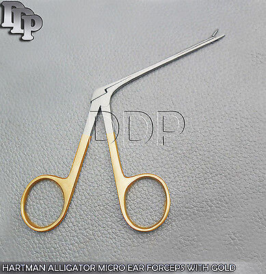 Hartman Alligator Micro Ear Forceps 3.5 Serrated With Gold Handle