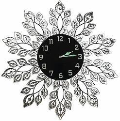 Lulu Decor, 25 Crystal Decorative Leaf Metal Wall Clock with Black Glass Dial