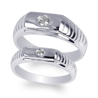 Gold Duo Band Ring - JamesJenny Couple Duo Set White Gold Plated Round CZ Band Ring Size 4-12
