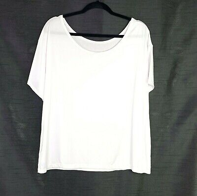 Fabletics Womens XL White Top Short Sleeve Yoga Top Shirt Scoop Back