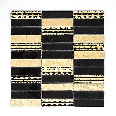 Mosaiikmatte Mosaikfliese Mosaik Stein Carving mix gold/schwarz matt 300x300 mm